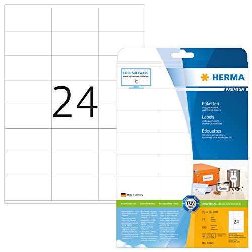 HERMA 4360 Adressaufkleber DIN A4 (70 x 36 mm, 25 Blatt, Papier, matt) selbstklebend, bedruckbar, permanent haftende Universal Etiketten, 600 Klebeetiketten, weiß