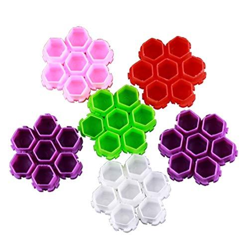 EXCEART 200 Pcs Nid D'abeille Splicable Couleur Tasse Pigment Tasses en Plastique Tasse D'encre pour Tatouage Peinture (Couleur Mélangée)