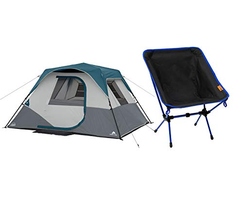 A.T. Products Corp. Ozark Trail 6-Person Instant Cabin Tent with LED Light Bundle with Ozark Trail Lightweight Weather-Resistant Backpacking Chair, Black