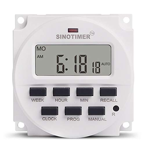 TM618H Timer Control Switch 220V 50-60Hz 15.98 inch LCD Digital Display Socket Minute Control Timer 16 ON/OFF 180 Days Power Off Memory Voltage Output (TM618H-2 220V)