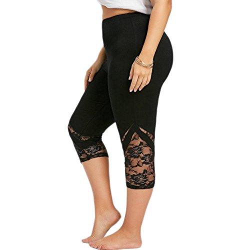 Legging en Dentelle Été Grande Taille Femme,Overdose Pantalon Sport Short Sportswear Gym Running Yoga Athletic Taille Haute Stretch Trousers (XXXXXL, Noir)
