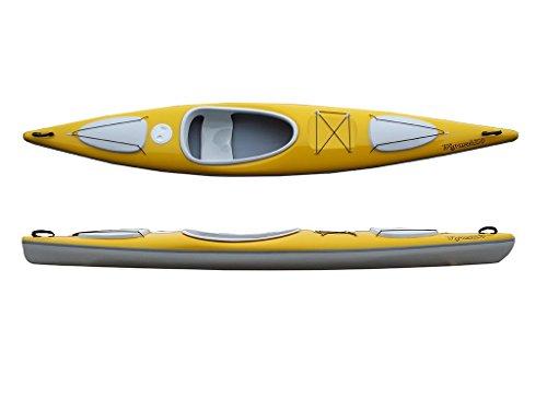 Wig Wanderkajak Modell 399 Tourenkajak Freizeitkajak leichtes Kajak 18kg NEU!!, Farbe:Weiß-Schwarz-Weiß, Ausstattung:mit Fußrasten und Ruder