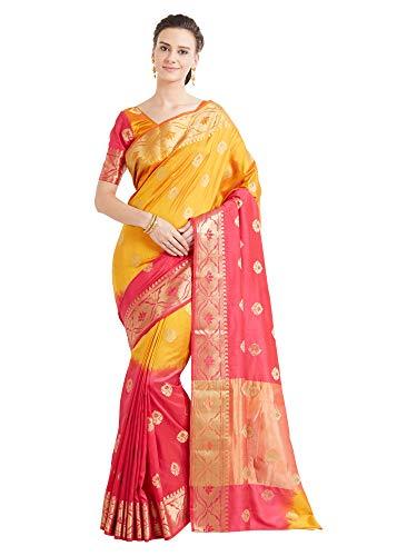 Viva N Diva Indischer Bollywood-Sarees für Frauen, Banarasi Art, Seidensaris, ethnisch, Hochzeitskleidung, Sari mit ungenähter Bluse Gr. One size, Rosa Senf