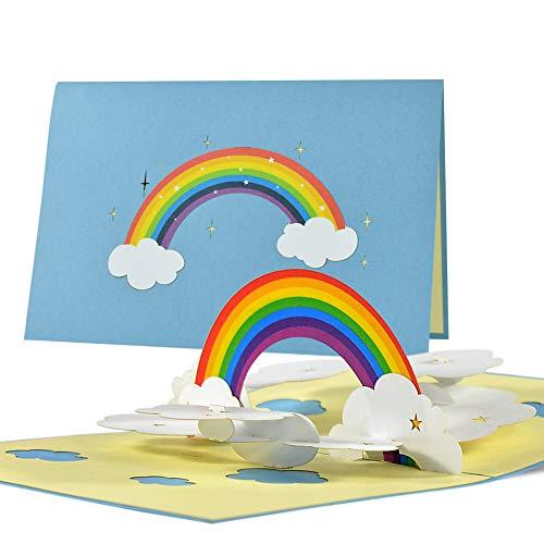 Karte mit Regenboden | Geburtstagskarte I Grußkarte Pop up Geburtstag, Gute Besserung | Regenbogenkarte 3D | Pop-up Karte Corona, Handgemacht, C22