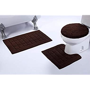 Mk Home 3pc Non-Slip Brown Bath Set for Bathroom with Bath Rug, Contour Mat and Lid Cover New # 60