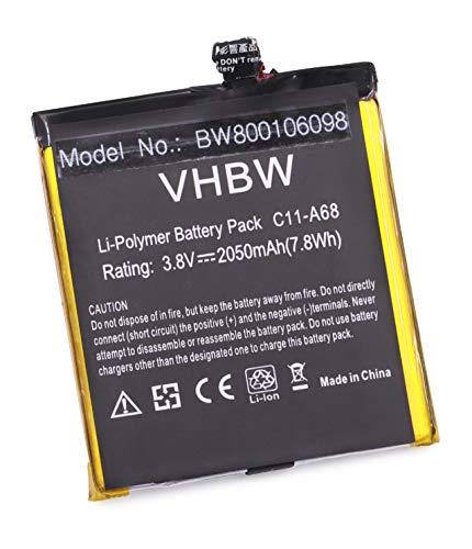 vhbw Akku kompatibel mit Asus PadFone 2, A68, A68-1A174GER, A68-1A175GER Handy Smartphone Handy (2050mAh, 3,8V, Li-Polymer)