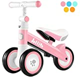 Jollito Baby Balance Bike, Adjustable Toddler Baby Bicycle 10-24 Months with 3 Silent Wheels, No Pedal Toddlers Walker Bike Riding Toy for 1 Year Old Boys Girls, Best Birthday Gift