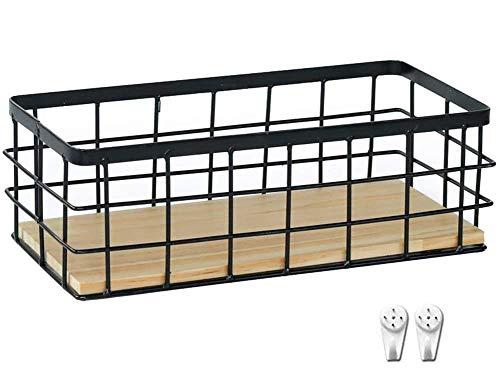 Cratone Metall Aufbewahrungskorb Grid Drahtkorb Schwarz Aufbewahrungskorb Dekokörbe Schwarz Allzweckkorb Drahtkorb für Lagerung Ablagekorb (Schwarz)