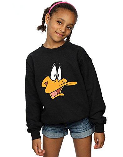 Looney Tunes Mädchen Daffy Duck Face Sweatshirt 9-11 Years Schwarz
