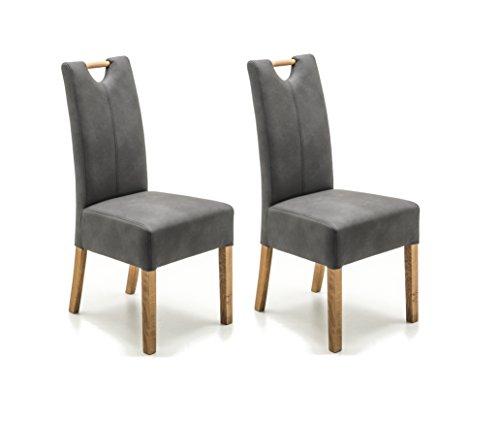 Robas Lund Esszimmerstuhl 2er Set Grau Dunkel, Stuhl mit Kunstlederbezug, Küchenstuhl mit Massivholzgestell Eiche geölt, Stuhl Elida