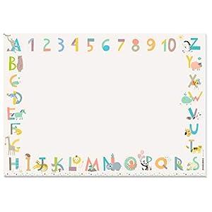 KAWAI-KAMI Sottomano da scrivania per bambini – ABC, numeri, animali XXL Blocco colorare A2 Block strappare Tappetino pittura ragazze, ragazzi, asili, scuola, pittura, disegno.