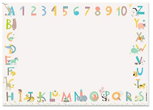 KAWAI-KAMI Schreibtischunterlage Kinder - ABC, Zahlen, Tiere - XXL Malblock Papier - A2 Block zum Abreißen - Malunterlage - für Mädchen, Jungen, Kindergarten, Schule, Einschulung, Malen, Zeichnen
