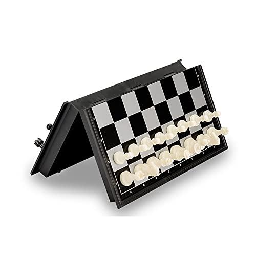 Conjunto de ajedrez portátil Plegar 2 en 1 Damas Conjunto de ajedrez Piezas de ajedrez de plástico Juego Juego de ajedrez al Aire Libre para Adultos (Color : Black)