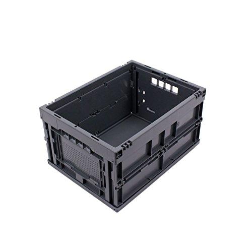 CAJA PLEGABLE 20L, caja plegable de plastico, pequeña caja de transporte, cesta de la compra, 40x30x22 cm, gris