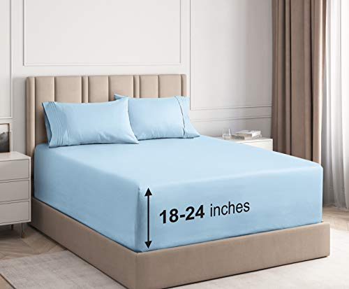 CGK Unlimited 21Inch 4PC Sheets (Cal King, Light Blue)
