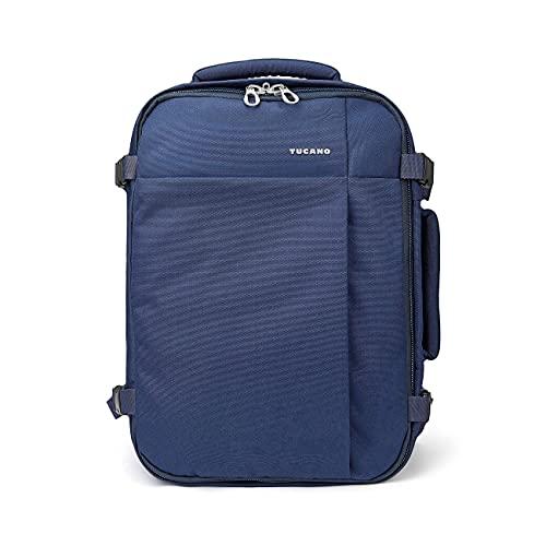 Tucano-Tugò-zaino da viaggio cabinabile. Vano laptop 13.3'/laptop 15.6'/MacBook 12'/MacBook Air 13'/MacBook Pro 13'/MacBook Pro 15' Schienale ergonomico. Tasche per PC e tablet. Blu