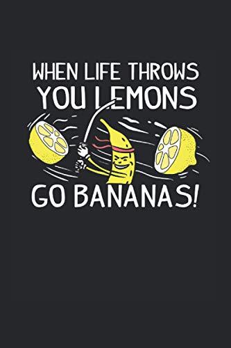 Notizbuch: Banane Zitronen Leben Gelb Motivation Geschenk 120 Seiten, 6X9 (Ca. A5), Punktraster