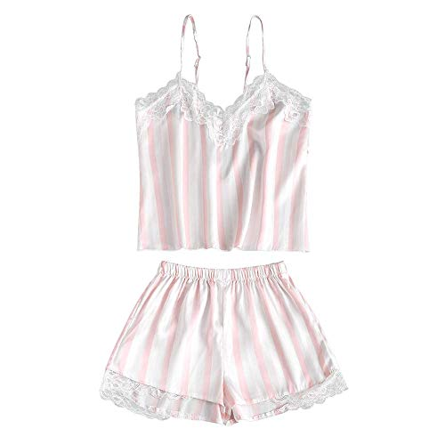 ZAFUL Women's Pajama Set Lace Trim Spaghetti Strap Satin Cami and Shorts Sleepwear Sexy Lingerie Nightwear (M, Pig Pink-Insert Striped)