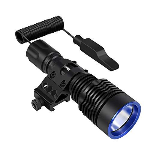ANEKIM Linterna táctica UC20 de 1300 lúmenes, color negro mate, con base Picatinny, batería recargable e interruptor de presión