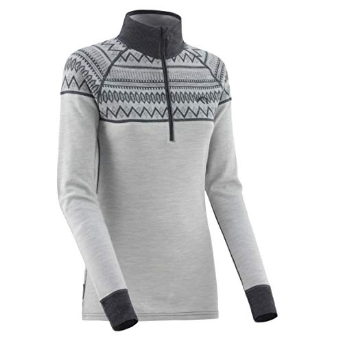 Kari Traa Women's Lokke Base Layer Top - Half Zip 100% Merino Wool Thermal Shirt Grey Large