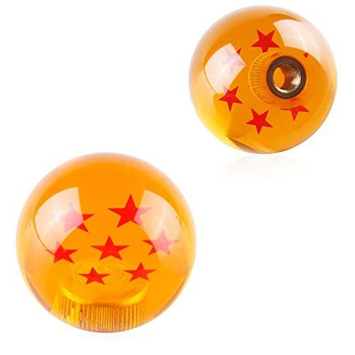 JINGLINGKJ 七星球シフトノブ 七星球ギアノブ ドラゴンボール ボール型 AT MT 車用 国産車に対応 汎用 カスタム ブラック 3種類アダプター付き (七星球)