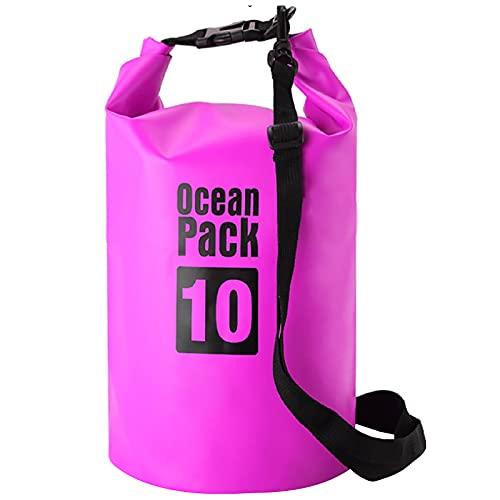YCYUYK Flotante impermeable bolsa seca 30l doble correa Roll Top saco para kayak, rafting, barco, natación, camping playa (púrpura)