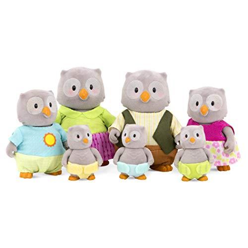 Li'l Woodzeez Eulen Tierfamilie – 7 weiche Tierfiguren mit Eltern, Kinder, Babys – auch als Adventskalender Füllung, Spielzeug Tiere Set (7 Teile) Spielzeug für Kinder ab 3 Jahren