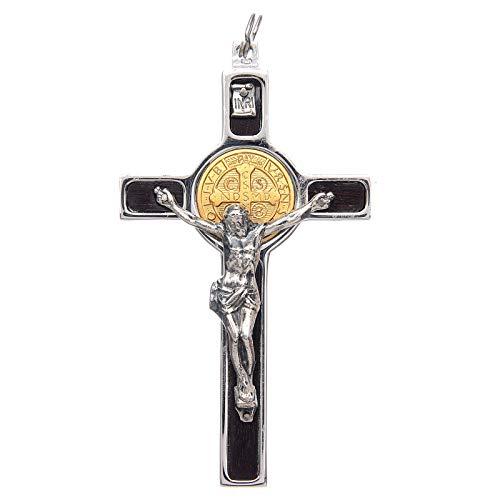 Anh?nger Benediktuskreuz aus 925erSilber und Medaille aus 18K Gold, 8 x 4 cm (2.96 x 1.70 inc.)