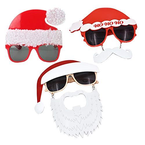 3 Pcs Creative Eyewear Christmas Eyeglasses Prop Santa Claus Glasses Christmas Hat Moustache Glasses Xmas Costume Glasses for Party Supplies Photo Props (Style Set 1)