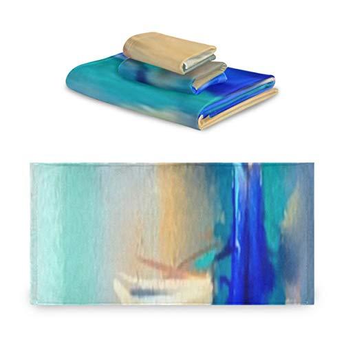 Juego de toallas de 3 piezas, pintura al óleo colorida sobre lienzo, juegos de toallas de textura, 1 toalla de baño, 1 paño, 1 toalla de mano, multifunción suave para el hogar, cocina, hotel, gimnasi