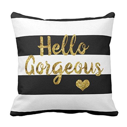 45x45cm Polyester Kissenbezüge Kissenhüllen Dekorative Streifen Haushaltswaren Hallo wunderschöne Schwarze weiße Phantasie Throw Pillowcase Komfortabler Überwurf Kissenbezug