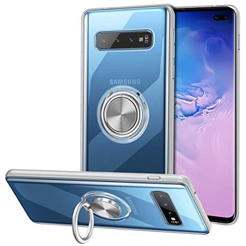 Vunake Galaxy S10 Plus Hülle mit 360 Grad Ring Case Stand Silikon TPU Slim Cover Transparent Ultradünn Handyhülle Magnetische Autohalterung Schutzhülle für Samsung Galaxy S10 Plus,Clear