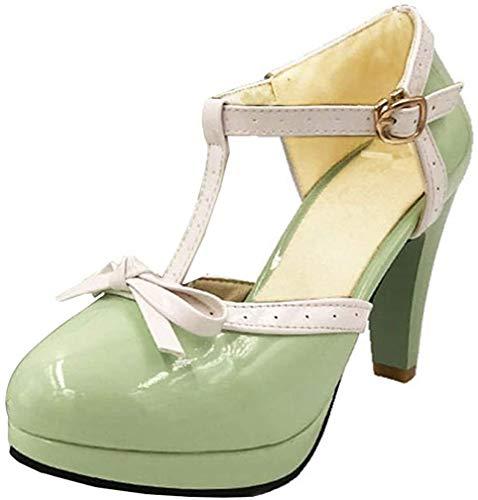 Damen T Steg Pumps High Heels Plateau mit Blockabsatz Rockabilly Lolita Cosplay 8cm Absatz Schuhe (Hellgrün,39)