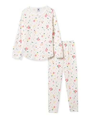 Petit Bateau 5996801 Pajama Set, Marshmallow/Multico, 10 Ans Girls