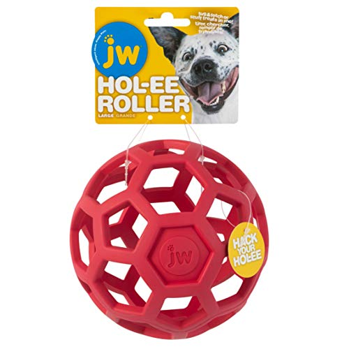 JW Pet Hol-ee Roller Original Do It All Dog Toy Puzzle Ball, Natural Rubber, Assorted Colors, Large