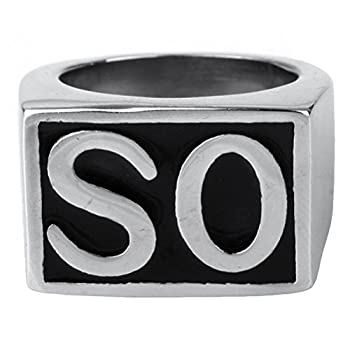 Oakky Jewelry Men s Stainless Steel Biker Rings SO Vintage Silver and Black Size 13
