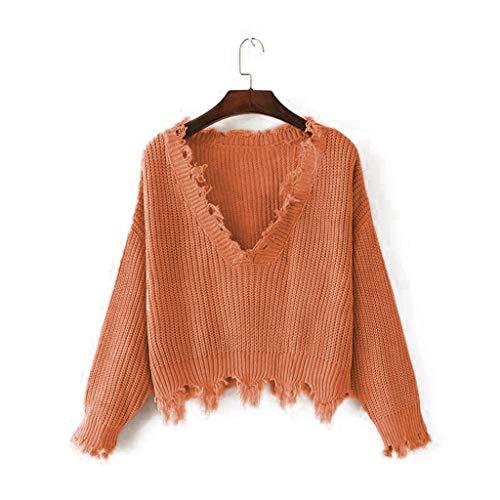 Shaohan - Jersey de punto para mujer, elegante, para invierno, de manga larga caqui 40
