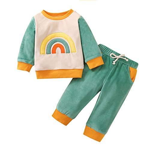Shiningwe Kleinkind Baby Winter Warme Outfits Set, Baby Mädchen Baby Junge Baumwolle Langarm Oberteile und Kordelzug Hose, Bunte Pyjamas Nachtwäsche-Sets
