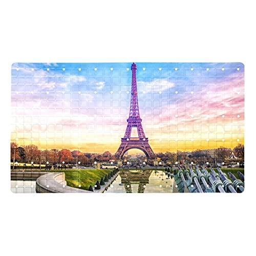 Z&Q Alfombra de bañera Ciudad de la Torre Eiffel Alfombra de baño Antideslizante para bebés, Alfombrilla de Ducha para baño para niños con ventosas, PVC ecológico 40x71 cm