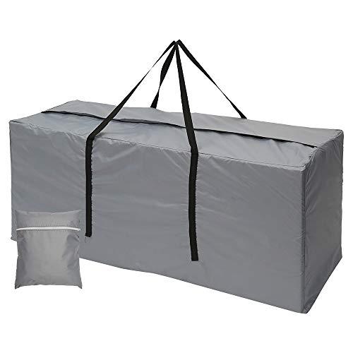 Maalr Bolsas de almacenamiento para exteriores, bolsa de jardín grande para cojín de viaje, funda ligera con cremallera, bolsa de jardín con asas impermeables, 210D Oxford (173 x 76 x 51 cm, gris)
