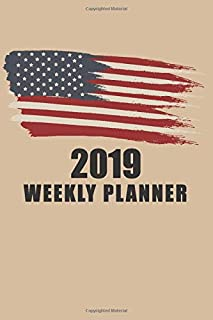 2019 Weekly Planner: USA Flag: Portable Format