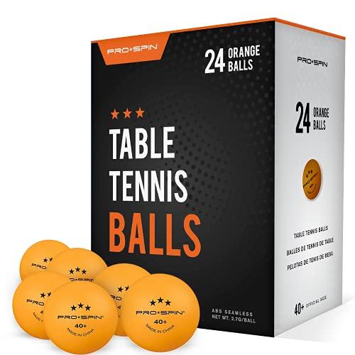Pro Spin Pelotas de Ping Pong - Naranja - Pelotas 3-Estrellas 40+ (Pack de 24) para Tenis de Mesa | Pelotas ABS de Alto Rendimiento y Durabilidad para Mesa de Ping Pong Interior/Exterior, Competición