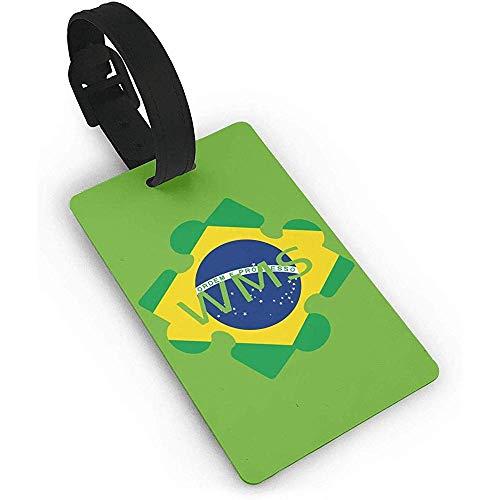 Satz von 2, Brasilien Flagge Kissclipart Autismus 5-Punkt-Skala Ep App Clipart Puzzles, PVC-Gepäck, Kofferanhänger Name Adresse ID-Etikett Reisegepäckanhänger ID-Etiketten