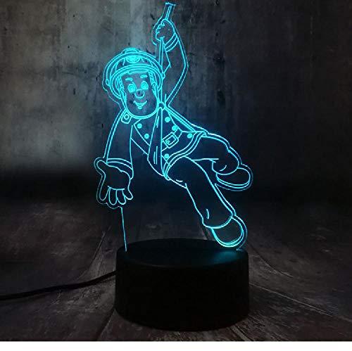 Pompier Sam Pompier 3D Acrylique 7 Changement De Couleur Veilleuse Veille Lampe Décor À La Maison Enfant Cadeau De Noël