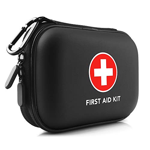 Mini First Aid Kit, 100 Pieces Small Water-Resistant Hard Shell Case - Perfect for Travel, Outdoor, Home, Office, Camping, Hiking, Car (Black)