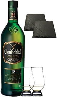 Glenfiddich 12 Jahre Single Malt Whisky 0,7 Liter  2 Glencairn Gläser  2 Schieferuntersetzer quadratisch ca. 9,5 cm