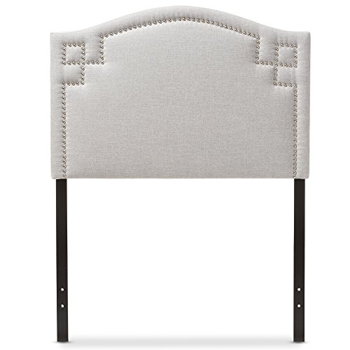 Baxton Studio Aure Modern and Contemporary Kids Bedroom Greyish Beige Fabric Upholstered Headboard, Twin