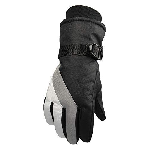 Gants d'hiver Femme,Garder au Chaud Doux Confort Coupe-Vent Respirant Ski Running Moto Vélo Randonnée Camping(Blanc+ Gris)