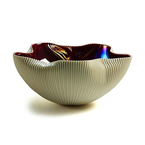 YourMurano Murano Glasschale, elfenbeinfarben/Rot, Blumendekoration, handgefertigte Schale, Glas-Obstschale, 100% Markenware garantiert