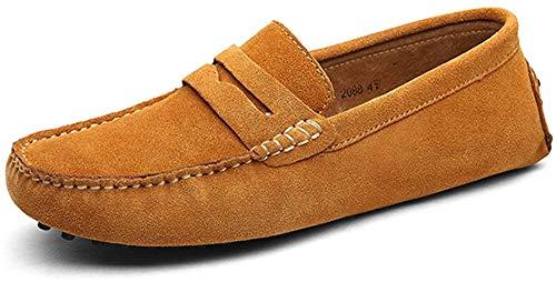 DUORO Herren Klassische Weiche Mokassin Echtes Leder Schuhe Loafers Wohnungen Fahren Halbschuhe (47 EU, Braun)
